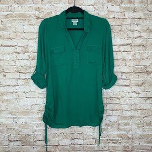 Motherhood Maternity green tunic top sz M Cinched